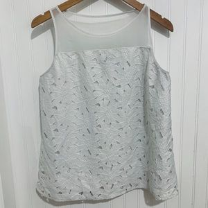 Ann Taylor white daisy sheer lace Top M